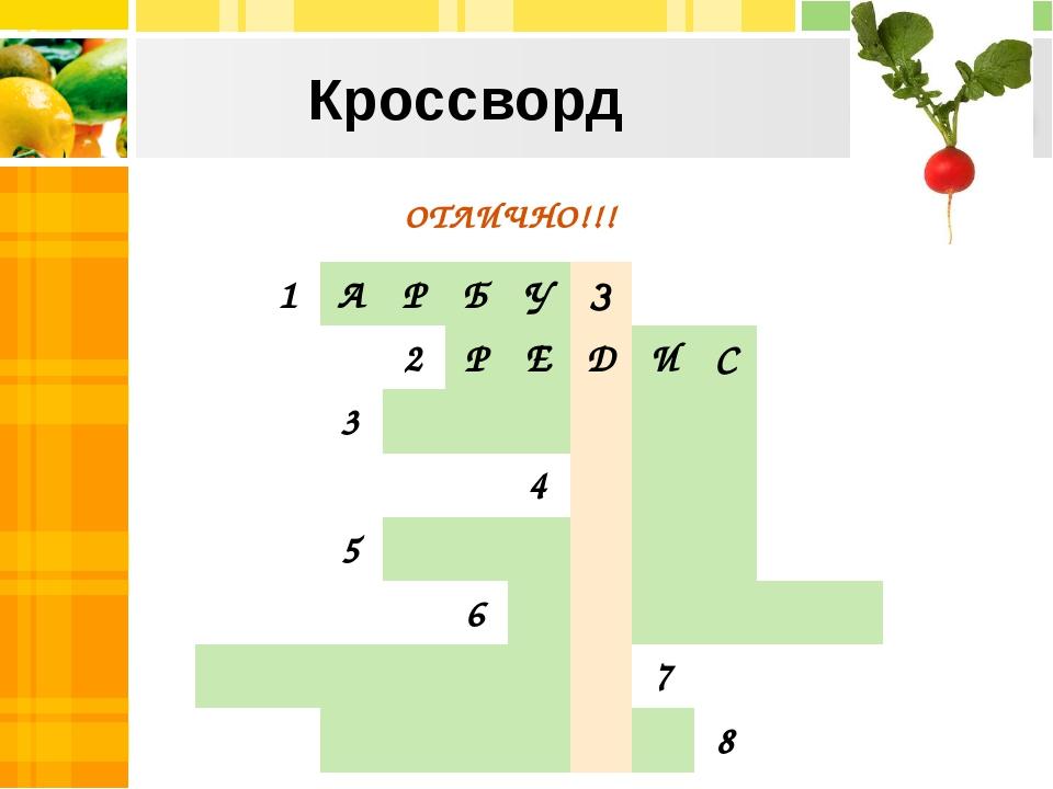 Кроссворд ОТЛИЧНО!!! 1АРБУЗ 2РЕДИС 3...