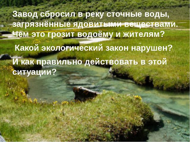Завод сбросил в реку сточные воды, загрязнённые ядовитыми веществами. Чем это...