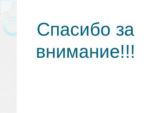 Спасибо за внимание!!!