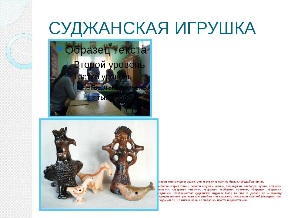 СУДЖАНСКАЯ ИГРУШКА Центром изготовления суджанских игрушек-свистунов была сло...