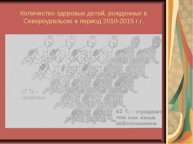 Количество здоровых детей, рожденных в Североуральске в период 2010-2015 г.г.