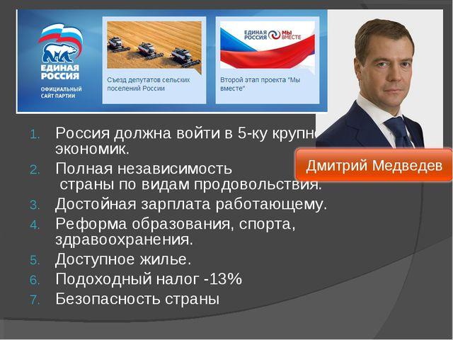 Россия должна войти в 5-ку крупнейших экономик. Полная независимость страны п...