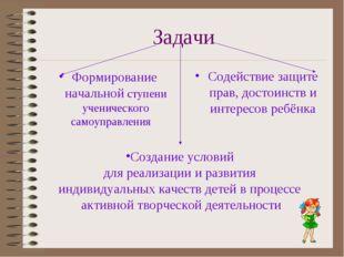 Задачи Формирование начальной ступени ученического самоуправления Содействие