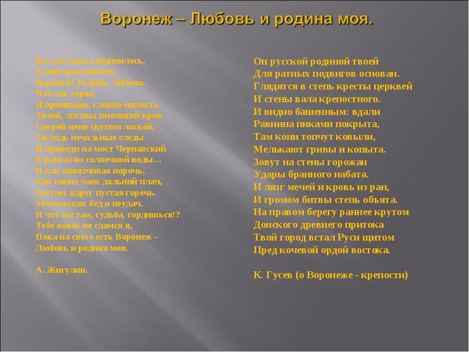 Все это здесь соединилось, В мой краткий век, Воронеж! Родина. Любовь. Что та...