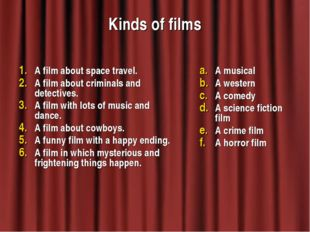 Kinds of films A film about space travel. A film about criminals and detectiv