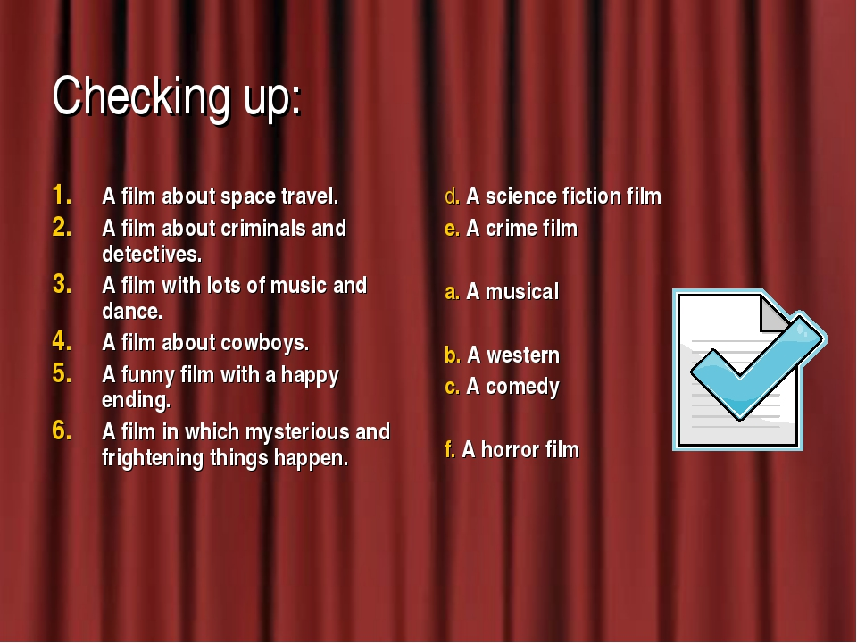 Checking up: A film about space travel. A film about criminals and detectives...