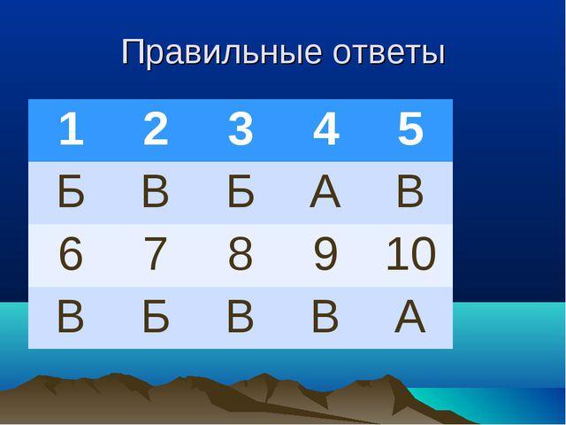 Правильные ответы 12345 БВБАВ 678910 ВБВВА