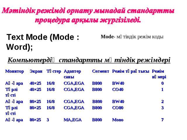 Text Mode (Mode : Word); Mode- мәтіндік режім коды Компьютердің стандартты мә...