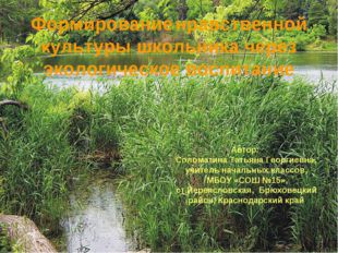 Формирование нравственной культуры школьника через экологическое воспитание А