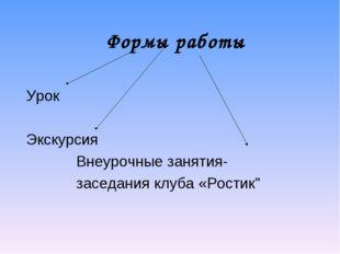 Формы работы Урок Экскурсия Внеурочные занятия- заседания клуба «Рос