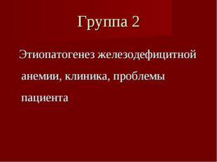 Группа 2 Этиопатогенез железодефицитной анемии, клиника, проблемы пациента
