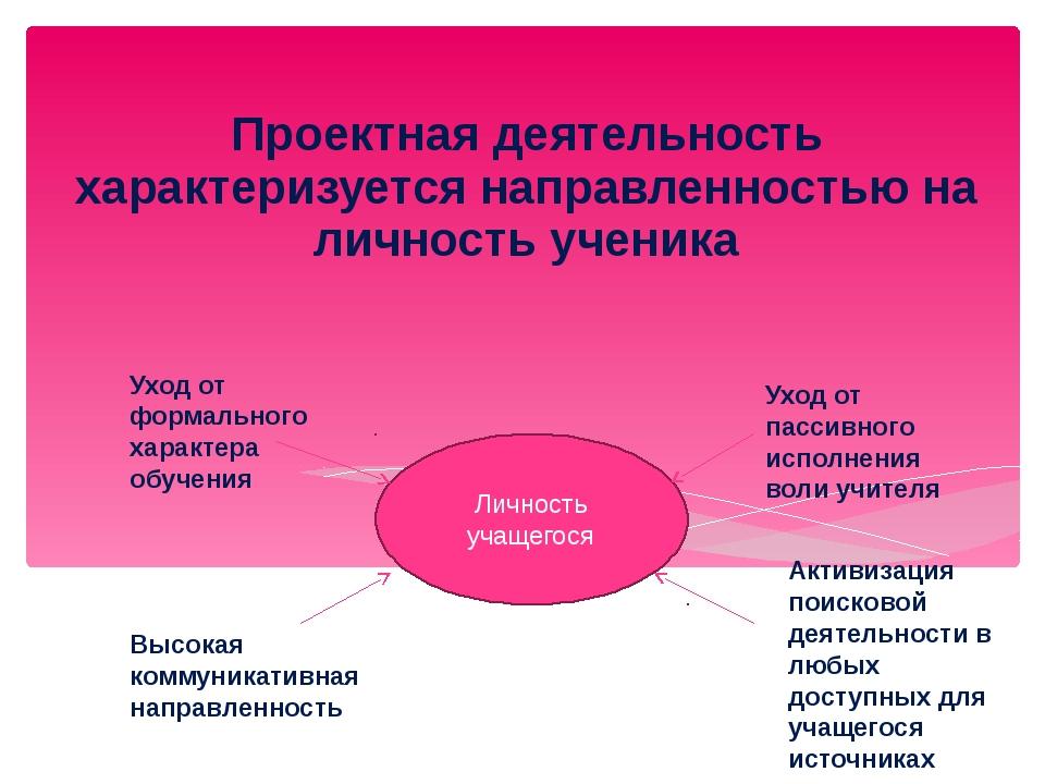 Проектная деятельность характеризуется направленностью на личность ученика Л...