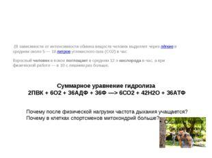 Суммарное уравнение гидролиза 2ПВК + 6О2+ 36АДФ + 36Ф —> 6СО2+ 42Н2О + 36АТ