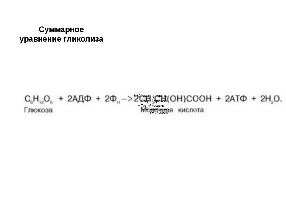 Суммарное уравнение гликолиза