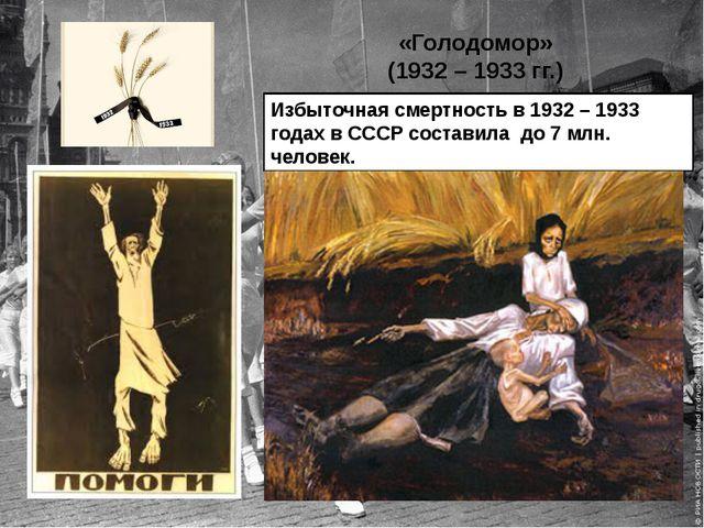 «Голодомор» (1932 – 1933 гг.) Избыточная смертность в 1932 – 1933 годах в ССС...