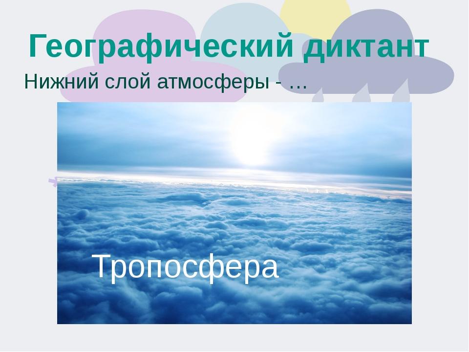 Географический диктант Нижний слой атмосферы - … Тропосфера