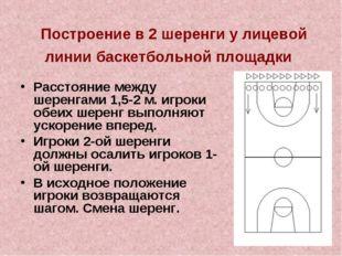 Построение в 2 шеренги у лицевой линии баскетбольной площадки Расстояние меж