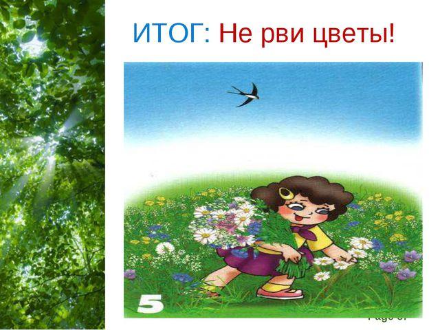 ИТОГ: Не рви цветы! Free Powerpoint Templates Page *
