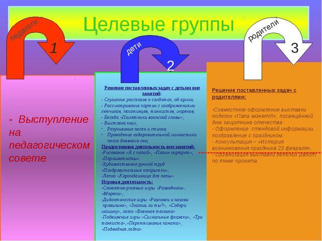Целевые группы педагоги дети родители 1 2 3 --------------------------------...