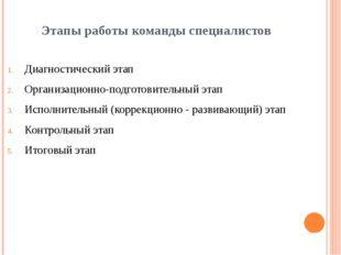 Этапы работы команды специалистов Диагностический этап Организационно-подгото