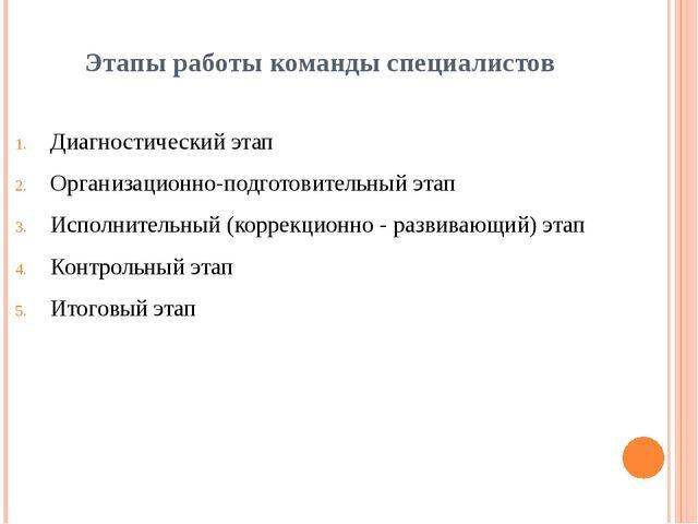 Этапы работы команды специалистов Диагностический этап Организационно-подгото...