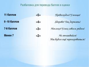 Разбаловка для перевода баллов в оценки 11 баллов «5» Превосходно!Умница! 9 -