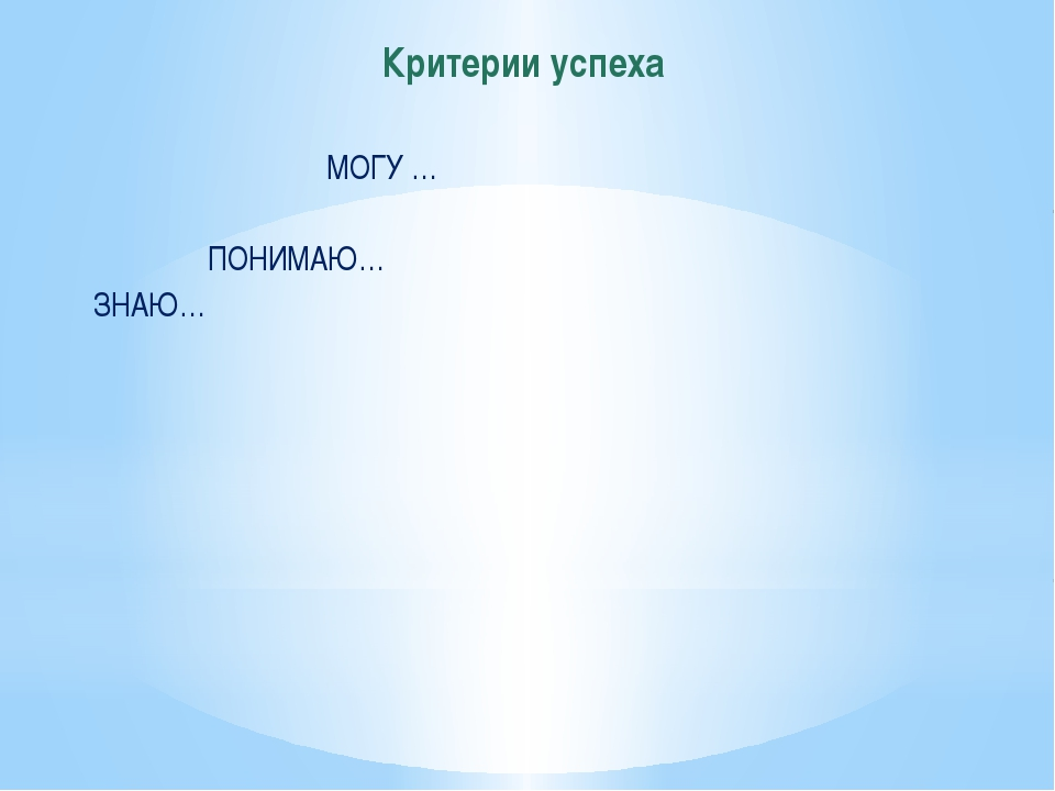 Критерии успеха МОГУ … ПОНИМАЮ… ЗНАЮ…