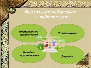 Формы взаимодействия с родителями: Информационно- аналитические Познавательны
