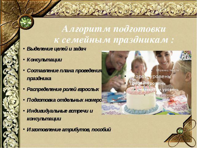 Алгоритм подготовки к семейным праздникам : Выделение целей и задач Консульта...