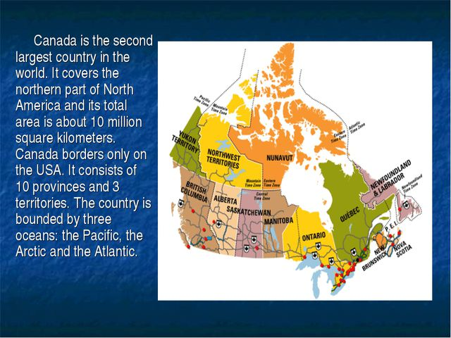 Canada is the second largest country in the world. It covers the northern par...