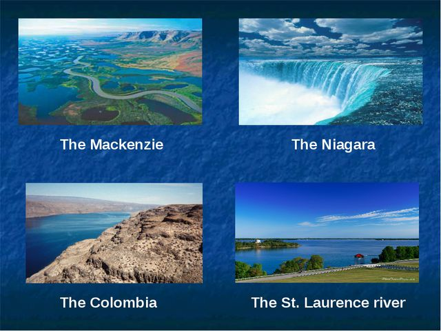 The Mackenzie The Niagara The Colombia The St. Laurence river