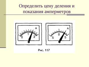 Определить цену деления и показания амперметров