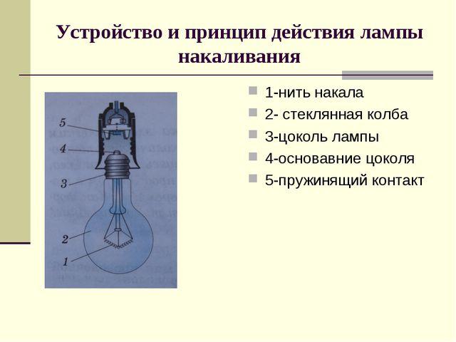 Устройство и принцип действия лампы накаливания 1-нить накала 2- стеклянная к...