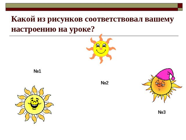 Какой из рисунков соответствовал вашему настроению на уроке? №1 №2 №3