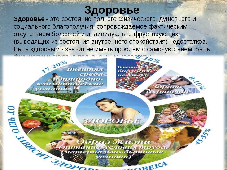 Здоровье Здоровье - это состояние полного физического, душевного и социальног...