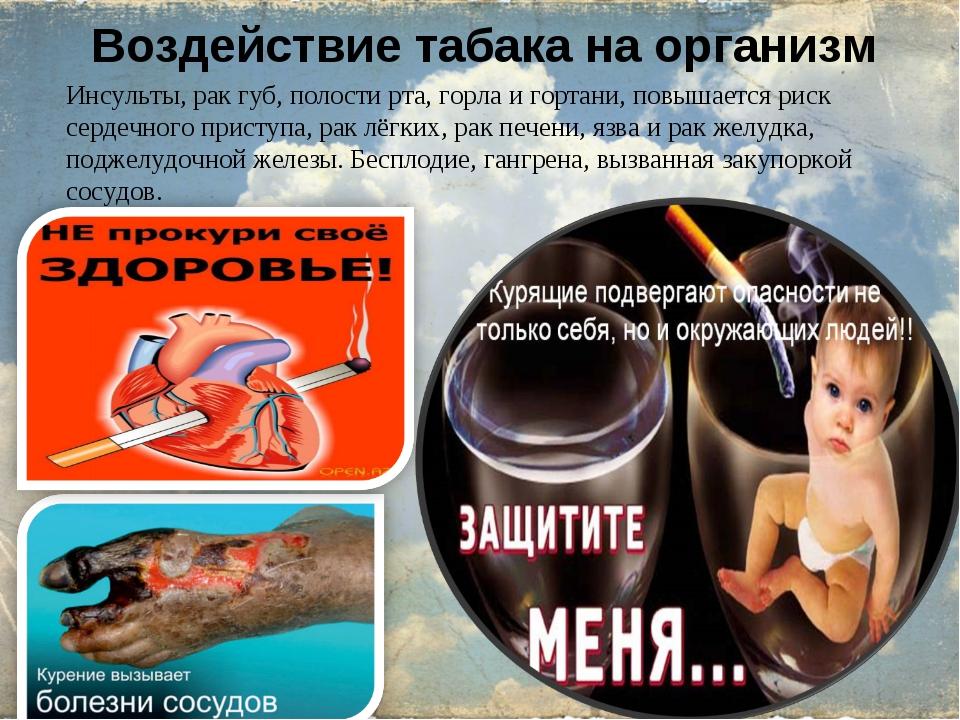 Воздействие табака на организм Инсульты, рак губ, полости рта, горла и гортан...