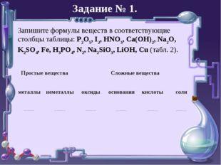 Задание № 1. Запишите формулы веществ в соответствующие столбцы таблицы: P2O5