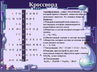 о о Зашифрованное слово: тип реакции, в ходе которой одного сложного вещества