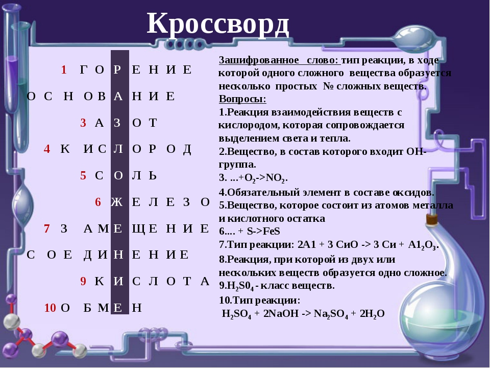 о о Зашифрованное слово: тип реакции, в ходе которой одного сложного вещества...