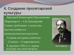 4. Создание пролетарской культуры Народный Комиссариат Просвещения (Наркомпро