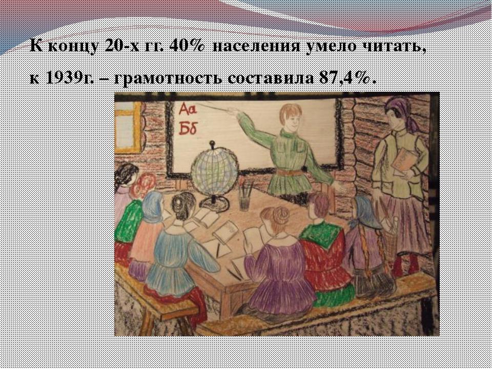 К концу 20-х гг. 40% населения умело читать, к 1939г. – грамотность состави...