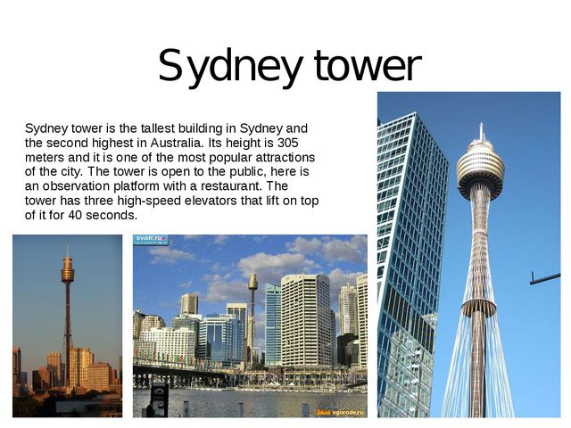Sydney tower is the tallest building in Sydney and the second highest in Aust...