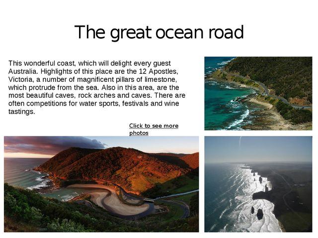 The great ocean road This wonderful coast, which will delight every guest Aus...