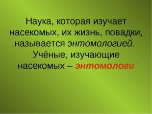 Наука, которая изучает насекомых, их жизнь, повадки, называется энтомологией.