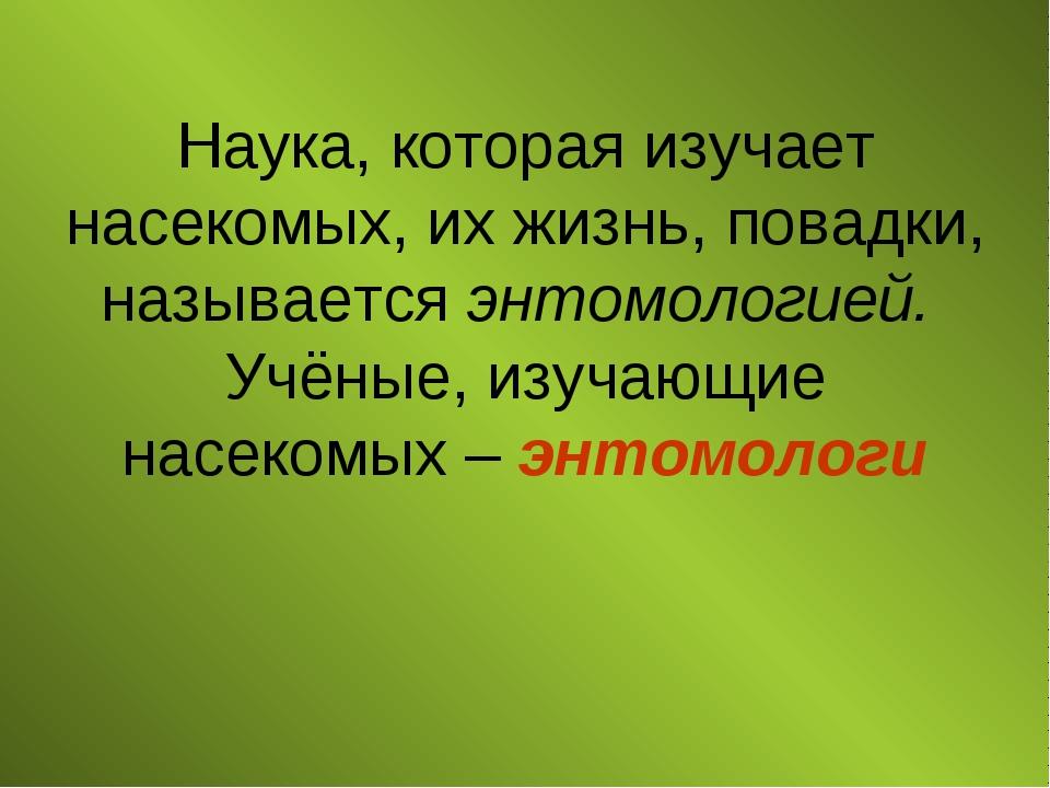 Наука, которая изучает насекомых, их жизнь, повадки, называется энтомологией....