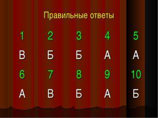 Правильные ответы 12345 ВББАА 678910 АВБАБ