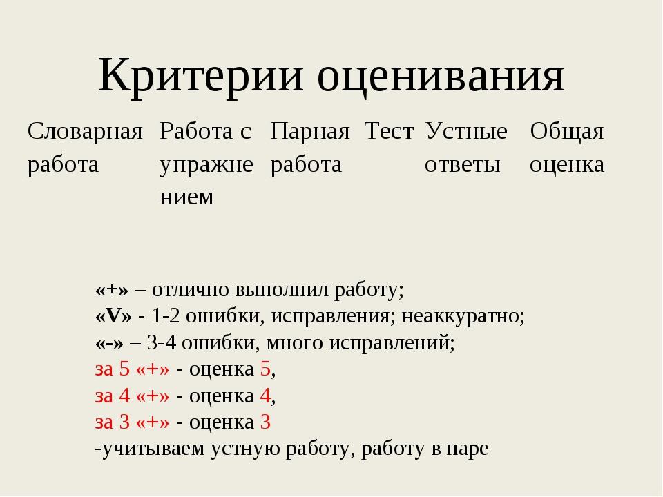 Критерии оценивания «+» – отлично выполнил работу; «V» - 1-2 ошибки, исправле...