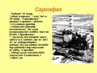 """Саркофаг Биіктігі 61 метр, қабырғаларының қалыңдығы 18 метр. «Саркофагты"""" орн"""