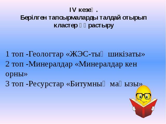 1 топ -Геологтар «ЖЭС-тың шикізаты» 2 топ -Минералдар «Минералдар кен орны» 3...