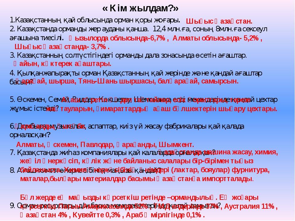 « Кім жылдам?» 1.Казақстанның қай облысында орман қоры жоғары. 2. Казақстанда...